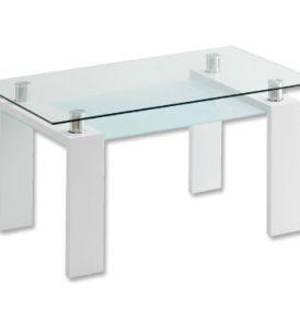 Mesa 150 x 85 Transparente Pata Blanca