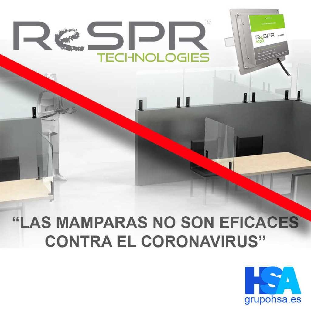 Las mamparas no son eficaces contra el coronavirus