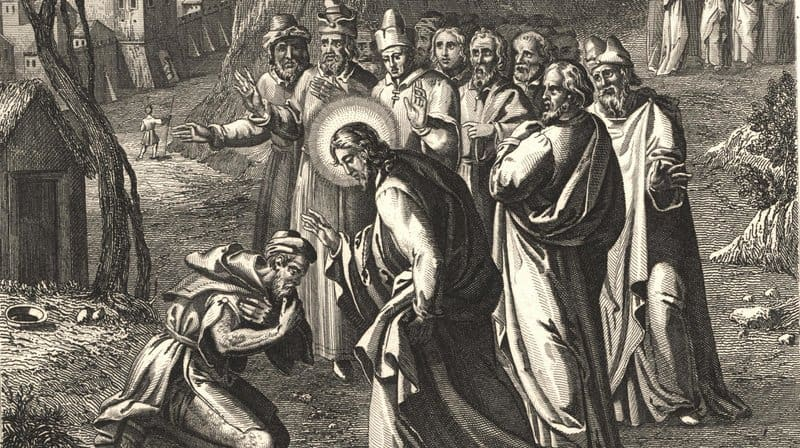 A woodcut from the 1800s, Healing the Lepers, depicts the common tableau of Jesus healing a leper as his disciples look on.