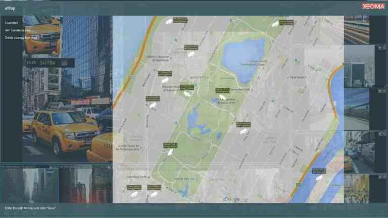 [Para proyectos a gran escala  ] Mapa de ubicación de la cámara con iconos de activación y vista rápida de una cámara seleccionada