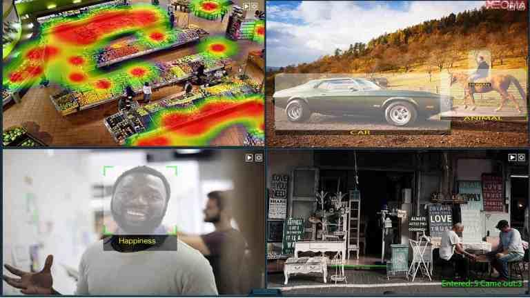 [Módulos intelectuales  ] Análisis de video avanzado: mapa de calor, reconocimiento de emociones, clasificación de objetos (humanos, animales, automóviles, etc.), contador de visitantes