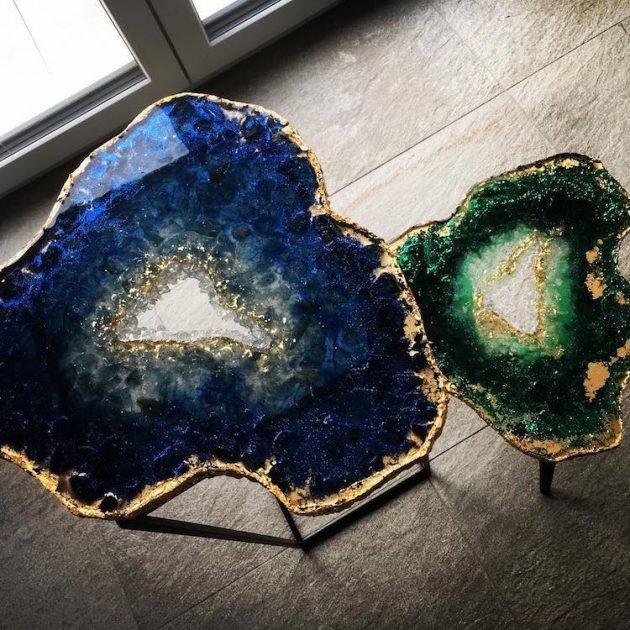 Mesmerizing Resin Tables Design con aspecto de rebanadas de geoda gigantes