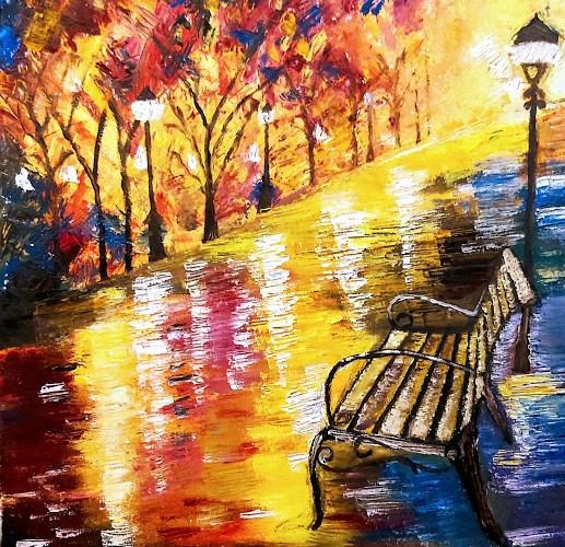 Dibujo de un banco en un paseo con farolas en un parque, autora: Henar Tejero