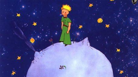 Ilustración de El Principito en su planeta con su rosa.