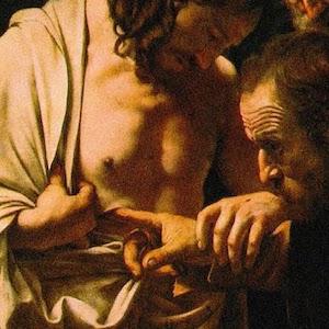 Detalle de un cuadro en el que se representa a Jesús de Nazaret resucitado y al apóstol Santo Tomás introduciendo un dedo en la herida de Jesús de Nazaret provocada por la lanza de Longinos, durante la crucifixión.