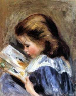 The picture book (el libro ilustrado) Auguste Renoir (1895) Pintura que representa a Jean Renoir con un vestido azul con cuello blanco mirando un libro ilustrado. (https://commons.wikimedia.org/wiki/File:Auguste_Renoir-_The_Picture_Book_-_Dixon_Gallery.jpg)