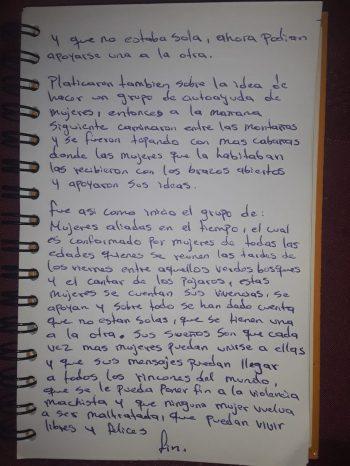 Uno de los cuentos escritos por las participantes. Foto: Grupo Venancia