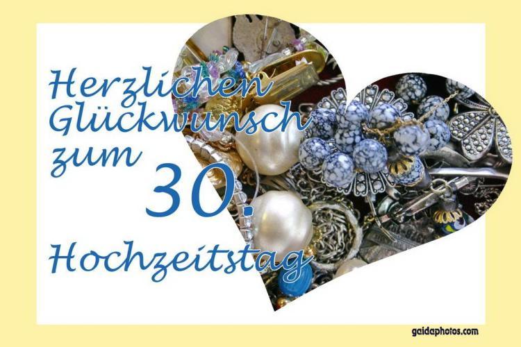 """30 Hochzeitstag (Perlenhochzeit): Grüße, Einladung und """"Danke Schön"""""""
