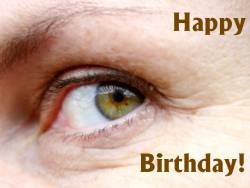 Grusskarte Geburtstag Auge grün Englisch