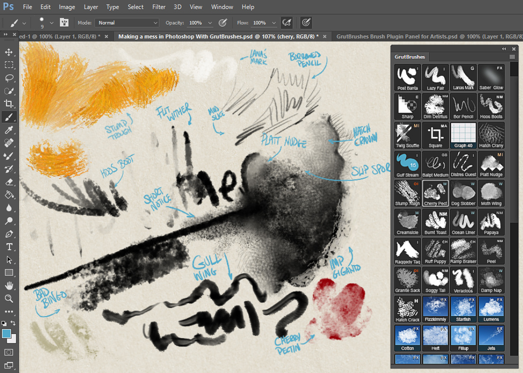 Painting with a variety of GrutBrushes. On the right you can see the GrutBrushes Photoshop Plugin Panel for Digital Artists
