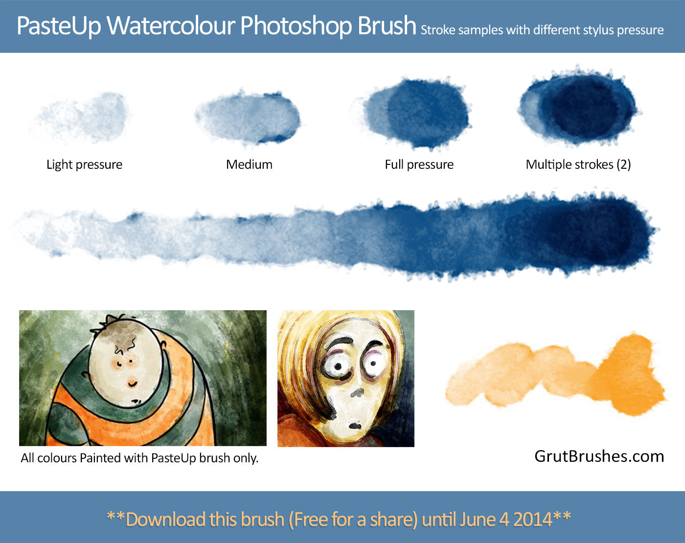 Brush stroke samples of pressure responsive watercolour brushes from Grutbooks.com