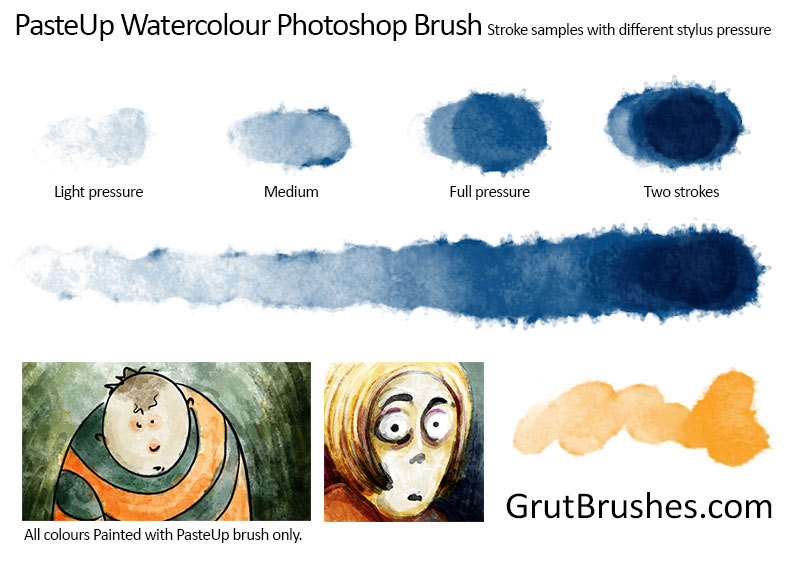 "Brush Strokes from the watercolour Photoshop brush toolset ""PasteUp"""