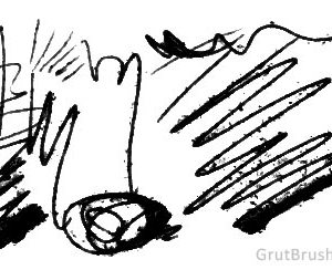 Sample brush strokes of 'Splatter Reed' Photoshop Ink brush for digital drawing