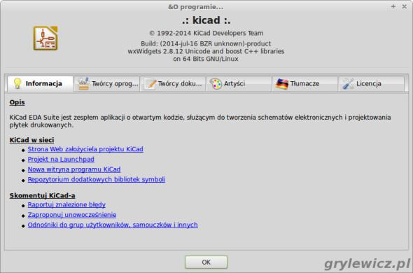 Sprawdzenie wersji KiCADa