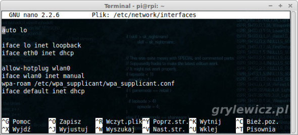 Konfiguracja sieci w Raspberry