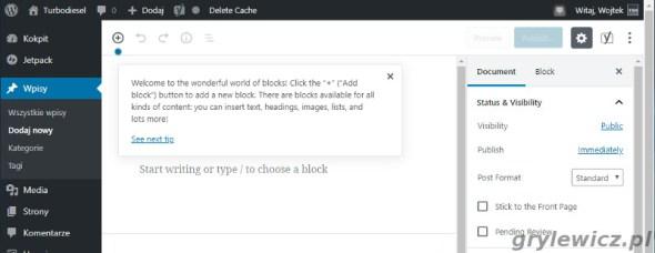 Gutenberg działa na nginx, WordPress z wtyczką wp super cache