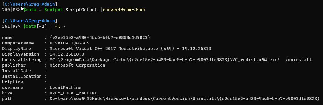 Parsed Invoke-VMScript output as Json