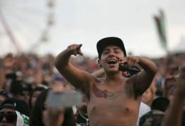 A Hip Hop fan enjoys the music during the Rock the Bells Festival in Devore on Sunday, September 8, 2013.