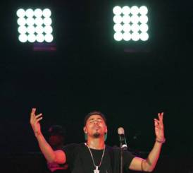 J Cole performs during the Rock the Bells Festival in Devore on Sunday, September 8, 2013.