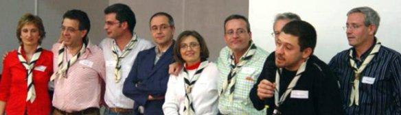 Homenaje a los jefes de grupo. De izquierda a derecha: Esmeralda Martínez, Constante Fiel, Carlos Bleda, Juan Martínez, Lidia Figuerola, Salvador Fernández, Andrés Gómez y Braulio Vázquez.
