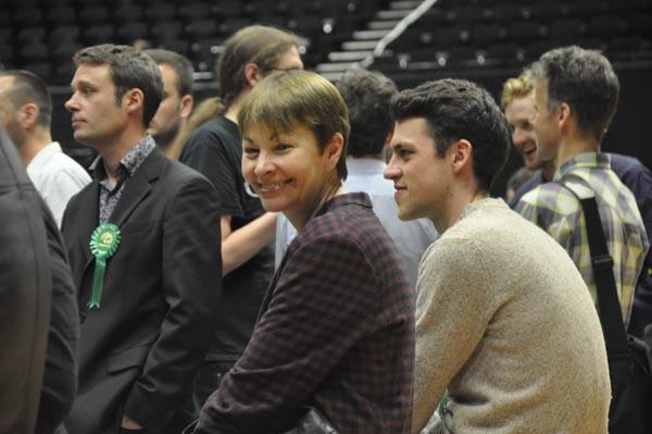 Caroline Lucas MP pays a visit to the count
