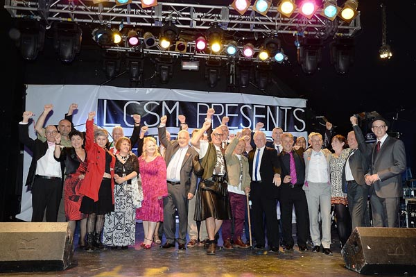 LGSM members pictured in 2014, including Mike Jackson far left with the pink bow tie.