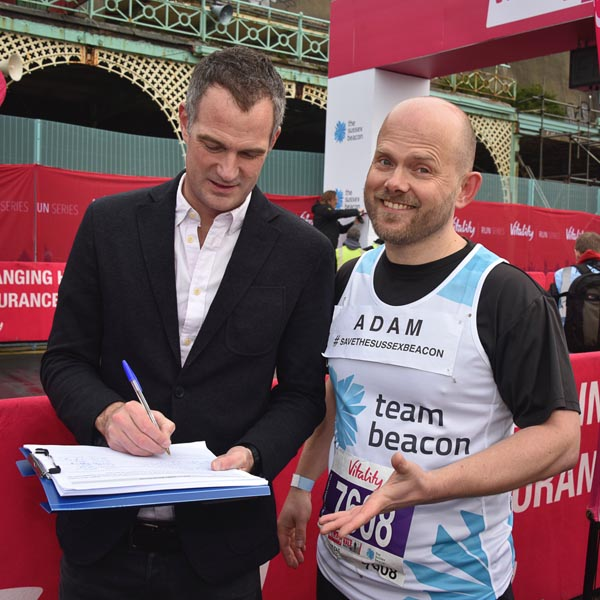 Peter Kyle MP signs the petition to 'Save the Sussex Beacon': Photo: Nick Ford