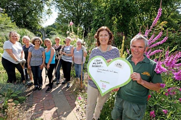 Cllr Gill Mitchell with volunteers at Preston Park walled garden