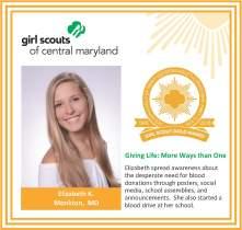 Gold Award for facebook Elizabeth Kelly