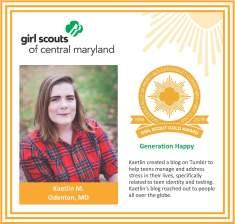 Gold Award for facebook Kaetlin Markwell