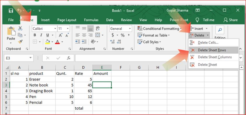 Deleting Row, Column or Cell