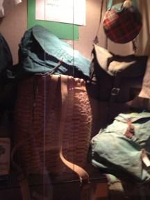 Backpacks and baskets.