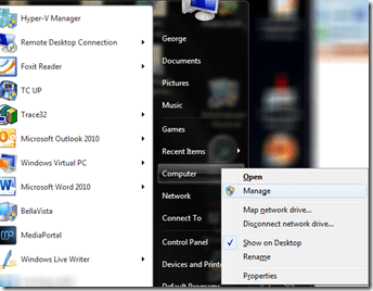 "The strange non-operation of Context menu entry ""Manage"" on Start Menu and Desktop Icon ""Computer"" item. (2/6)"