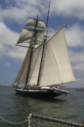 An older ship which navigates the ocean using a sail instead of motor.