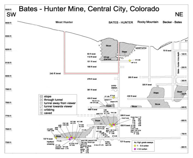 Map of the bates hunter mine
