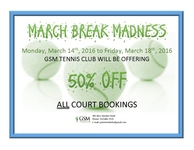 MARCH BREAK MADNESS flyer