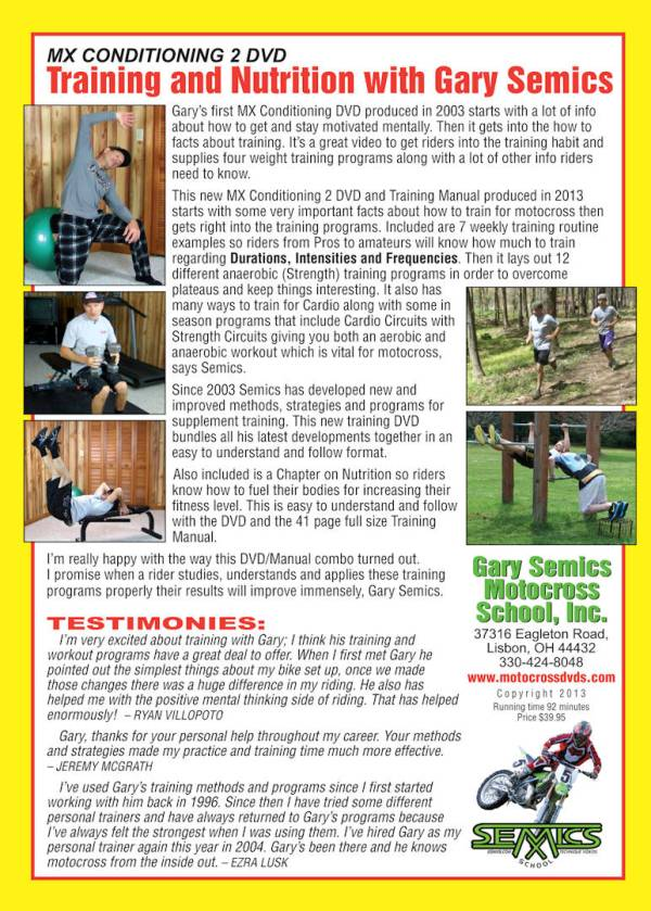 GSMXS Motocross Conditioning #2 - training and nutrition rear cover