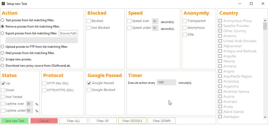 Setup the filter once and let Proxy Buddy scrub your proxy list on autopilot!