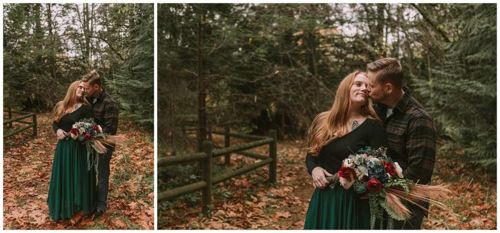 Elegant Redmond engagement session with flowy green skirt and fall bouquet in the leaves at Farrel Mcwhirter.  Adventurous outdoor Seattle and Snohomish wedding photography in the pacific northwest and montana rocky mountains.