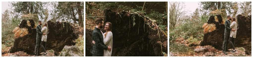 Seattle engagement session in the forest with a fallen tree. Adventurous outdoor Seattle and Snohomish wedding photography in the pacific northwest and montana rocky mountains.
