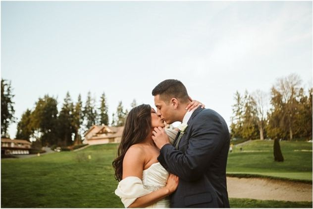 wedding couple on a golf course after their micro wedding in washington state