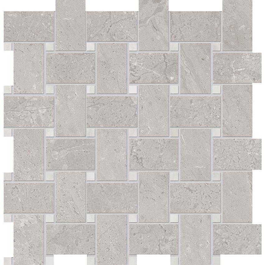 grey basketweave porcelain mosaic from