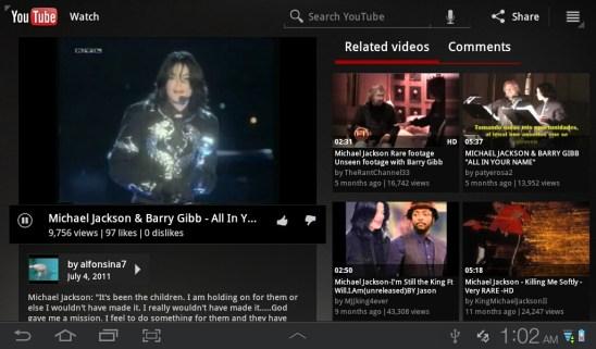 Samsung Galaxy Tab Plus - YouTube App 2