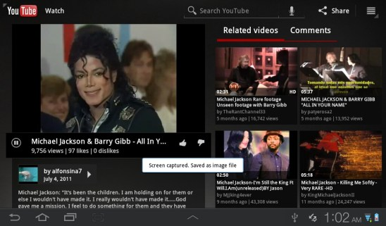 Samsung Galaxy Tab Plus - You Tube App