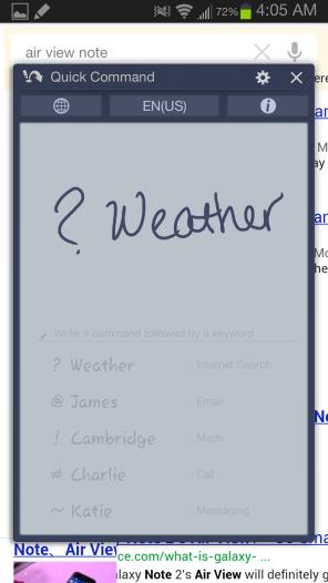 Samsung Galaxy Note II - Quick Command Screen