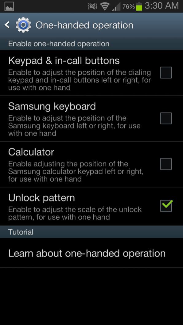 Samsung Galaxy Note II - One Handed Operations