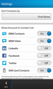 BlackBerry Z10 Tip: Hide Unwanted Social Network in Contacts App - BB Z10