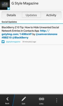 Contacts App - Social Updates - G style magazine - BB Z10