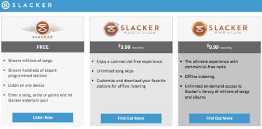 Slacker Music Service Prices Analie