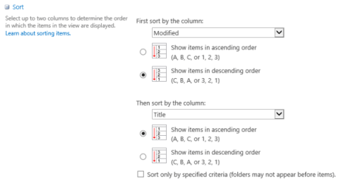 Document library view settings